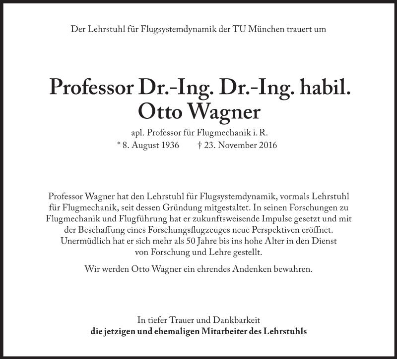 Traueranzeige Prof. Wagner